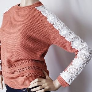 Listicle Rust Orange & White Lace Knit Sweater